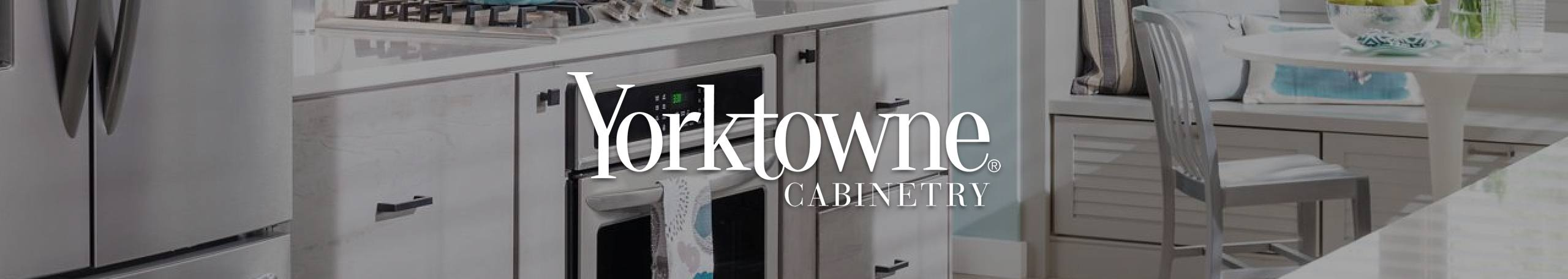 Yorktowne Cabinetry logo with kitchen in background