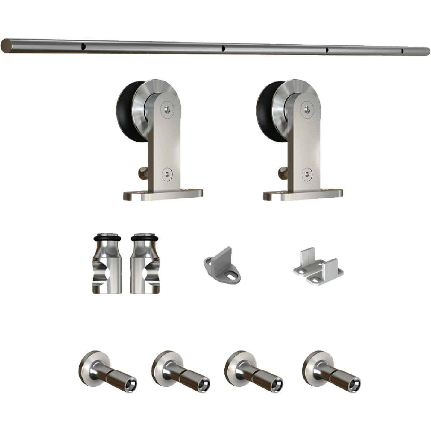 National Stainless Steel Steel Up to 200 Lb. Barn Door Track Hardware Kit Image 3