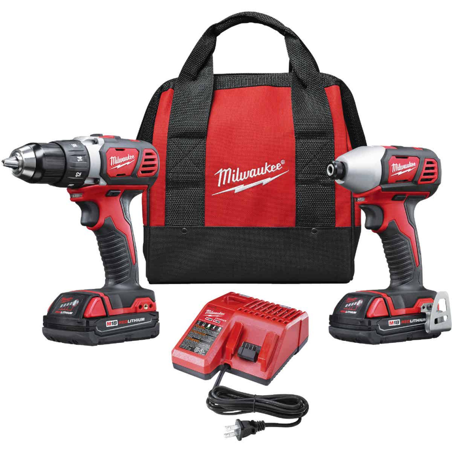Milwaukee 2-Tool M18 Lithium-Ion Compact Drill/Driver & Impact Driver Cordless Tool Combo Kit Image 1