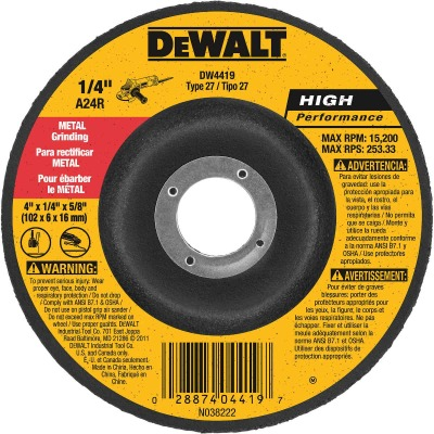 DeWalt HP Type 27 4 In. x 1/4 In. x 5/8 In. Metal Grinding Cut-Off Wheel