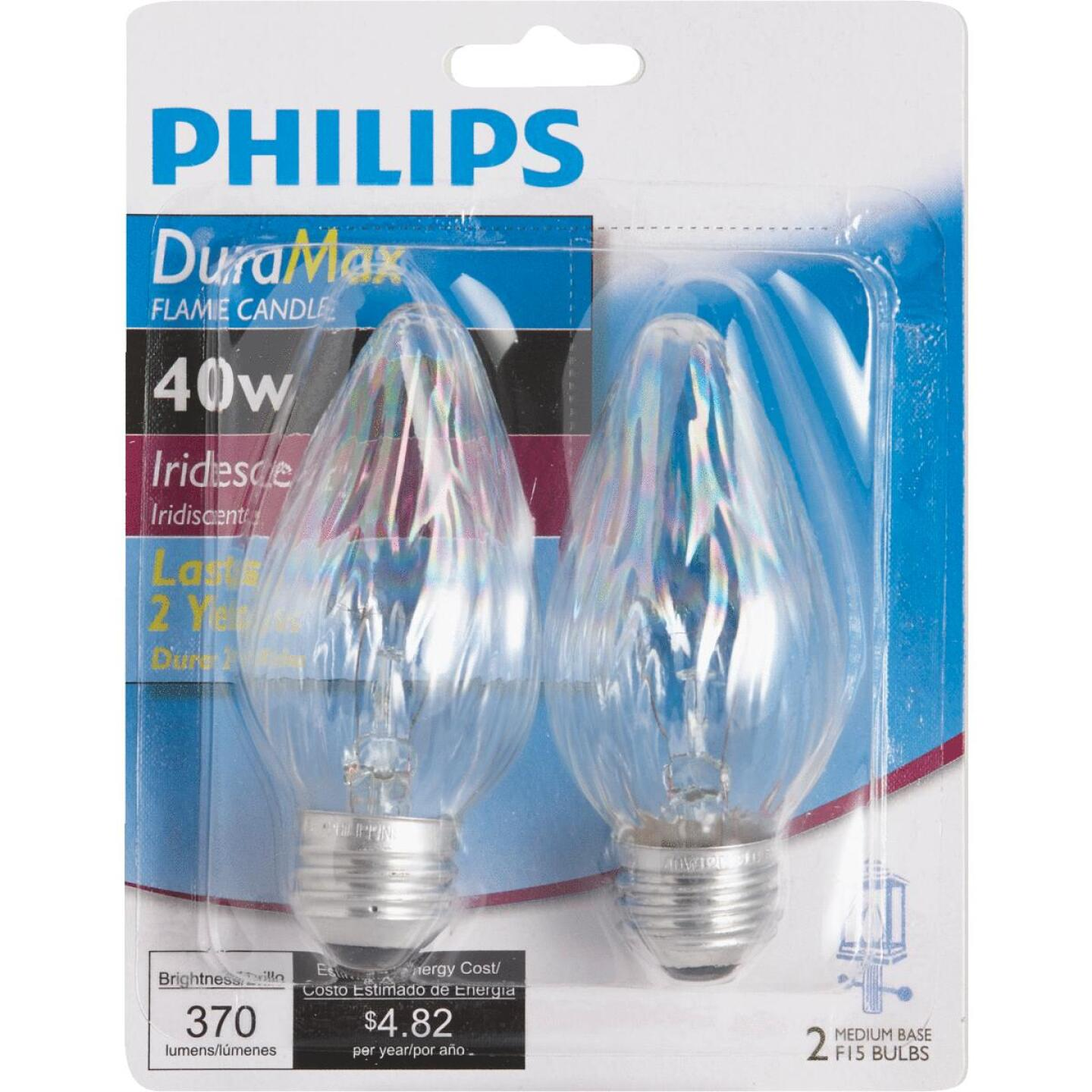 Philips DuraMax 40W Auradescent Medium F15 Incandescent Flame Candle Light Bulb (2-Pack) Image 2