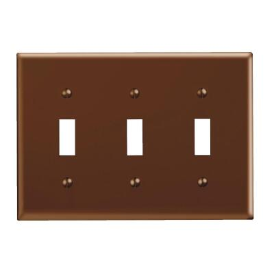 Leviton 3-Gang Plastic Toggle Switch Wall Plate, Brown