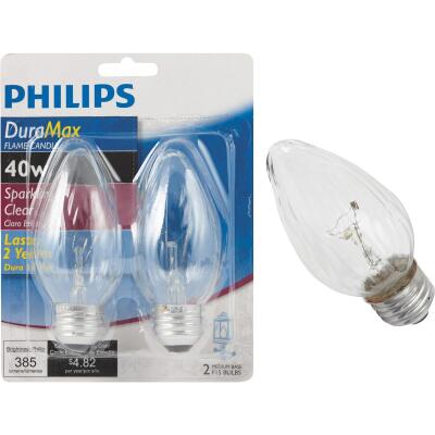 Philips DuraMax 40W Clear Medium F15 Incandescent Flame Candle Light Bulb (2-Pack)