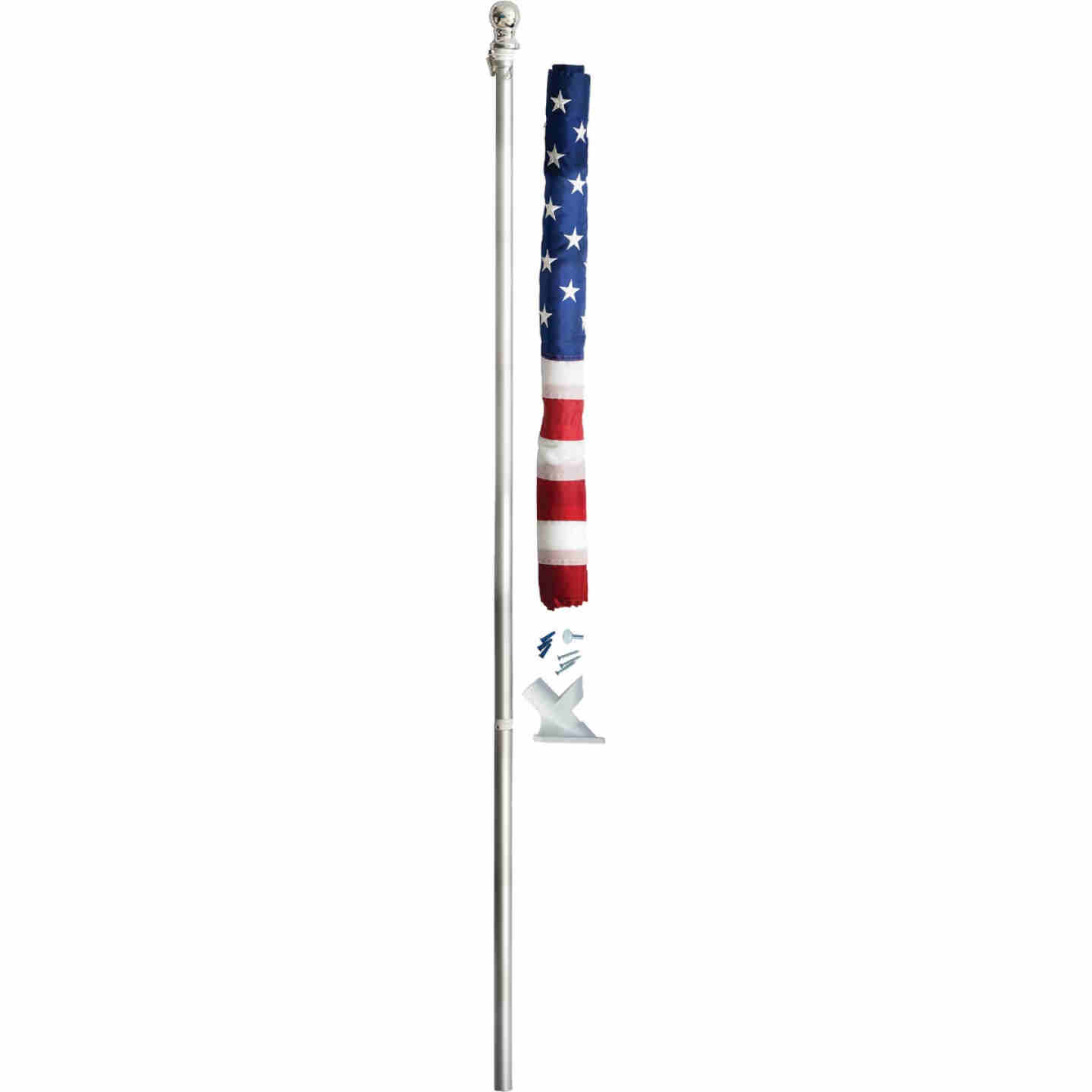 Valley Forge 2.5 Ft. x 4 Ft. Nylon American Flag & 5 Ft. Spinning Pole Kit Image 1